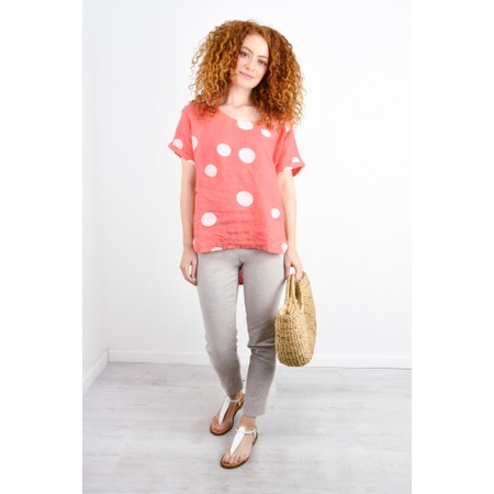 Arka Dot Linen Top - Orange