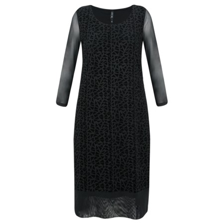 Foil Geometric Flock Dress  - Black