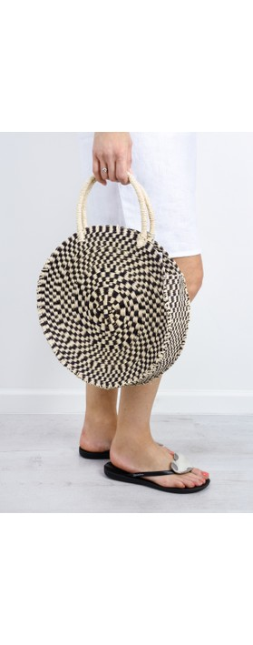 Betsy & Floss Antibes Round Basket Bag Black / Natural