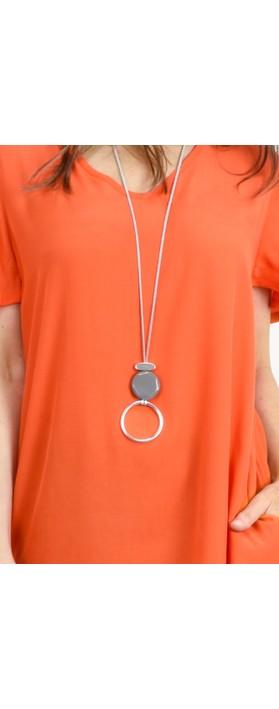 Eliza Gracious Areona Circle Resin Pendant Necklace Grey