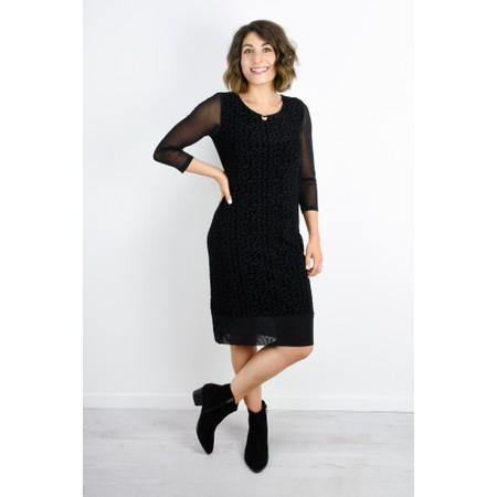 Foil Geometric Flock Dress  - Black