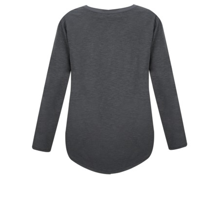 Sandwich Clothing Long Sleeves Contrast Fabric T-Shirt  - Grey