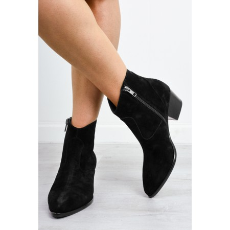 Ash Heidi Western Woodash Suede Boot - Black