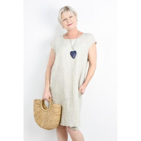 Fenella  Petra Relaxed Fit Cap Sleeve Dress - Beige