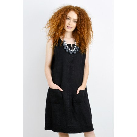 Fenella  Laural Linen Easy Fit Sleeveless Dress - Black