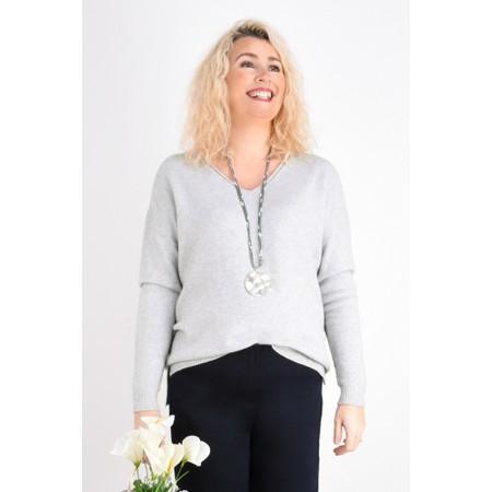 Fenella  Emmie EasyFit V-neck Knit Jumper - Grey