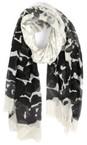 Tutti&Co Black/Grey/White Animal scarf