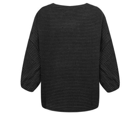 Mes Soeurs et Moi Romy Stripe Fleece Poncho Top - Black