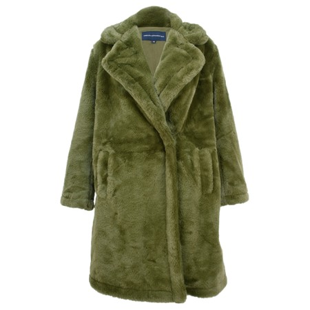 French Connection Buona Faux Fur Coat - Green