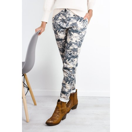 Expresso Heidi Tropical Print Trousers - Metallic