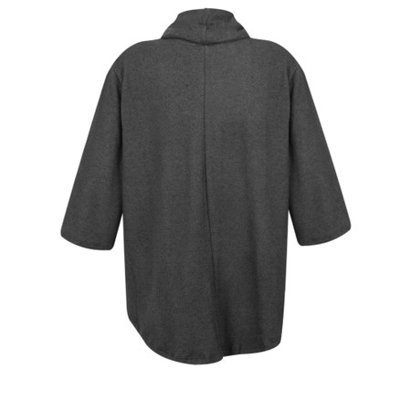 Thing Relaxed Cowl Neck Fleece Pocket Top - Grey