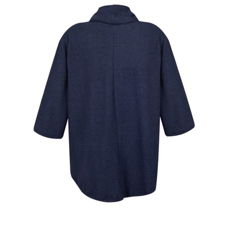 Thing Relaxed Cowl Neck Fleece Pocket Top - Blue