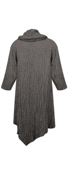Thing Cowl Neck Checked Print Tunic Dress Concrete