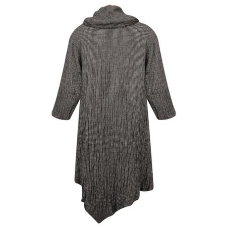 Thing Cowl Neck Checked Print Tunic Dress - Grey