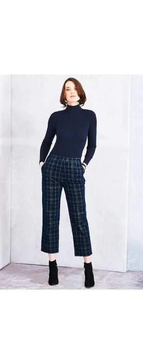 Adini Highland Check Brooke Trousers Navy
