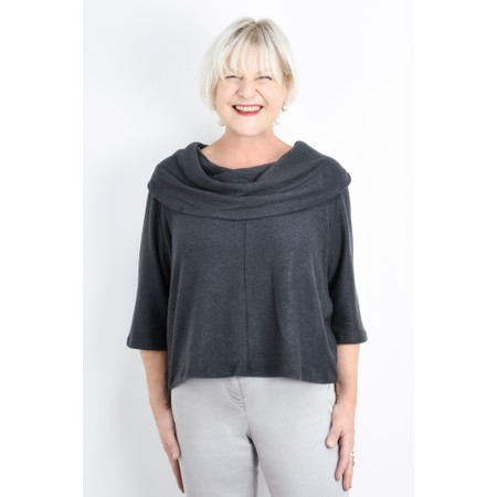 Thing Cowl Neck Fleece Top - Grey