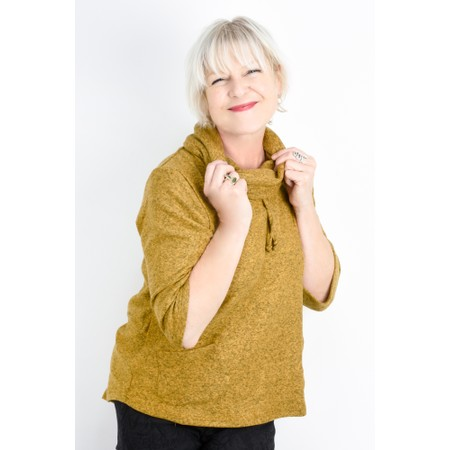 Thing Relaxed Cowl Neck Fleece Pocket Top - Yellow