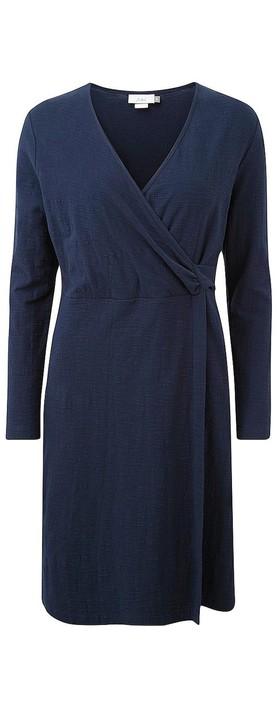 Adini Solid Cotton Slub Cammy Dress Navy