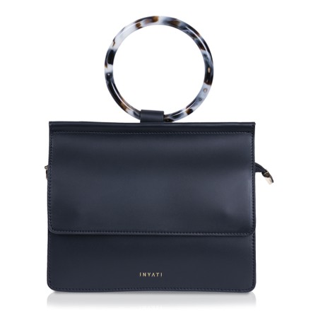 Inyati  Coco Faux Leather Loop Handle Crossbody Bag - Black