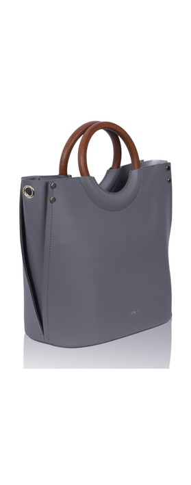 Inyati Viviana Faux Leather Top Handle Bag Mid Grey