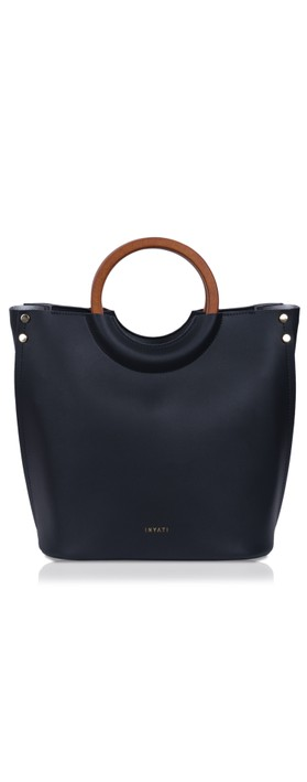 Inyati Viviana Faux Leather Top Handle Bag Black