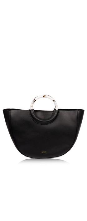 Inyati Georgia Faux Leather Half Moon Tote Bag Black