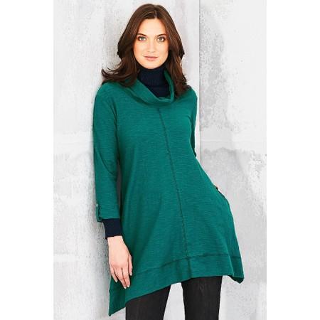 Adini Solid Cotton Slub Jodie Tunic - Green