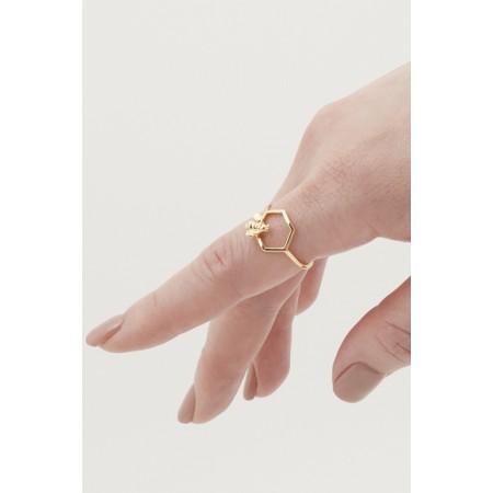 Bill Skinner Hexagon Bee Open Ring - Gold