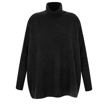 Absolut Cashmere Clara Roll Neck Poncho Cashmere Jumper - Black