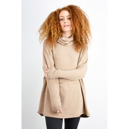 Mama B Oversized Bill Roll Neck Knit Top - Beige