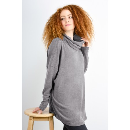 Mama B Oversized Bill Roll Neck Knit Top - Grey