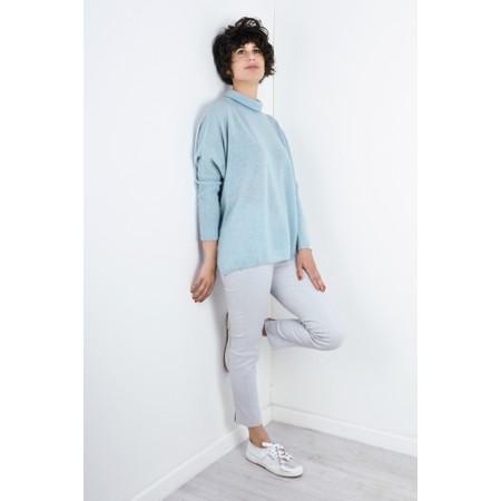 Absolut Cashmere Clara Roll Neck Poncho Cashmere Jumper - Blue