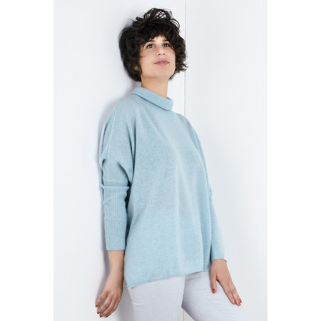 Absolut Cashmere Clara Roll Neck Poncho Cashmere Jumper - Blue