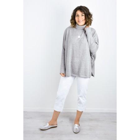 Robell Marie 07 White Jacquard Crop Trouser - White