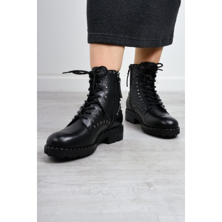 Ash Wolf Biker Boot With Studs  - Black