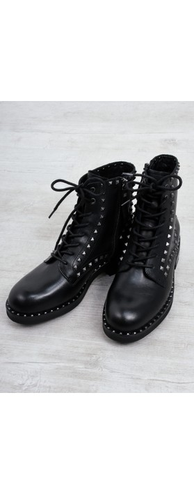 Ash Wolf Biker Boot With Studs  Black