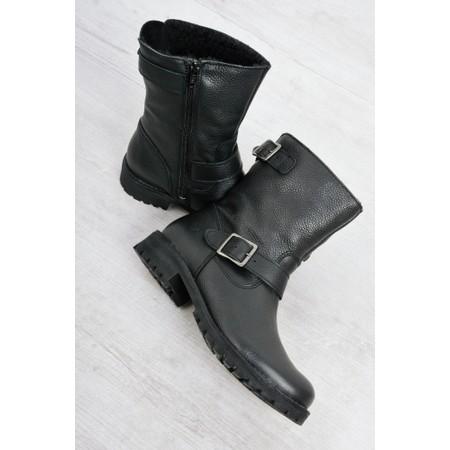 Tamaris  Biker Leather Buckle Biker Boot - Black