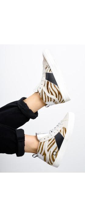 D.A.T.E Hawk Animal Print Hi Top Sneaker Zebra