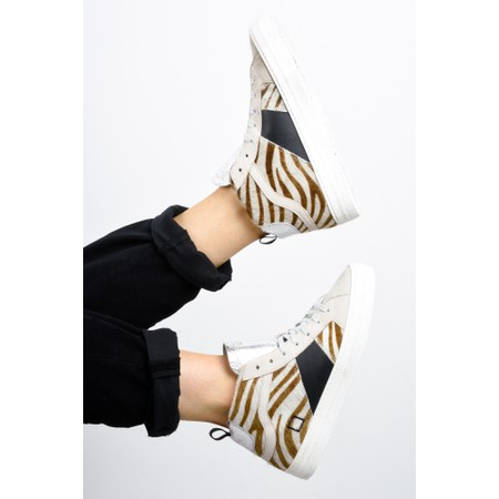 D.A.T.E Hawk Animal Print Trainer Shoe - Black