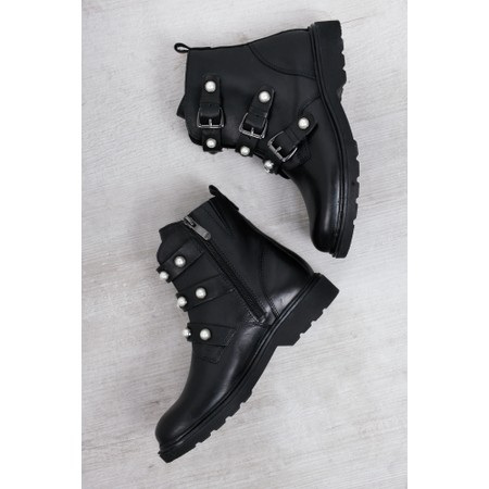 Marco Tozzi Denis Biker Boot With Pearls  - Black