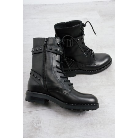 Ash Witch Biker Boot With Studs  - Black