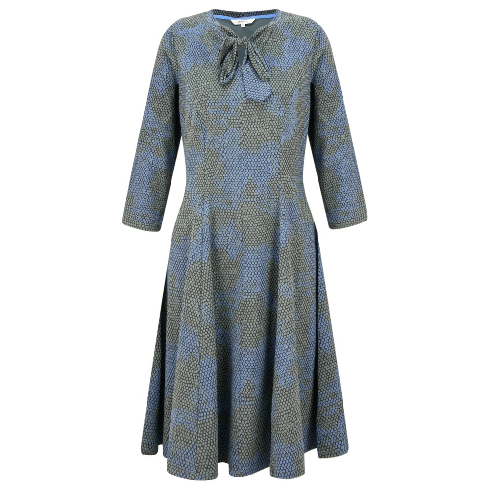 Sandwich Clothing Fit and Flare Tie Neck Snakeskin Dress Thyme