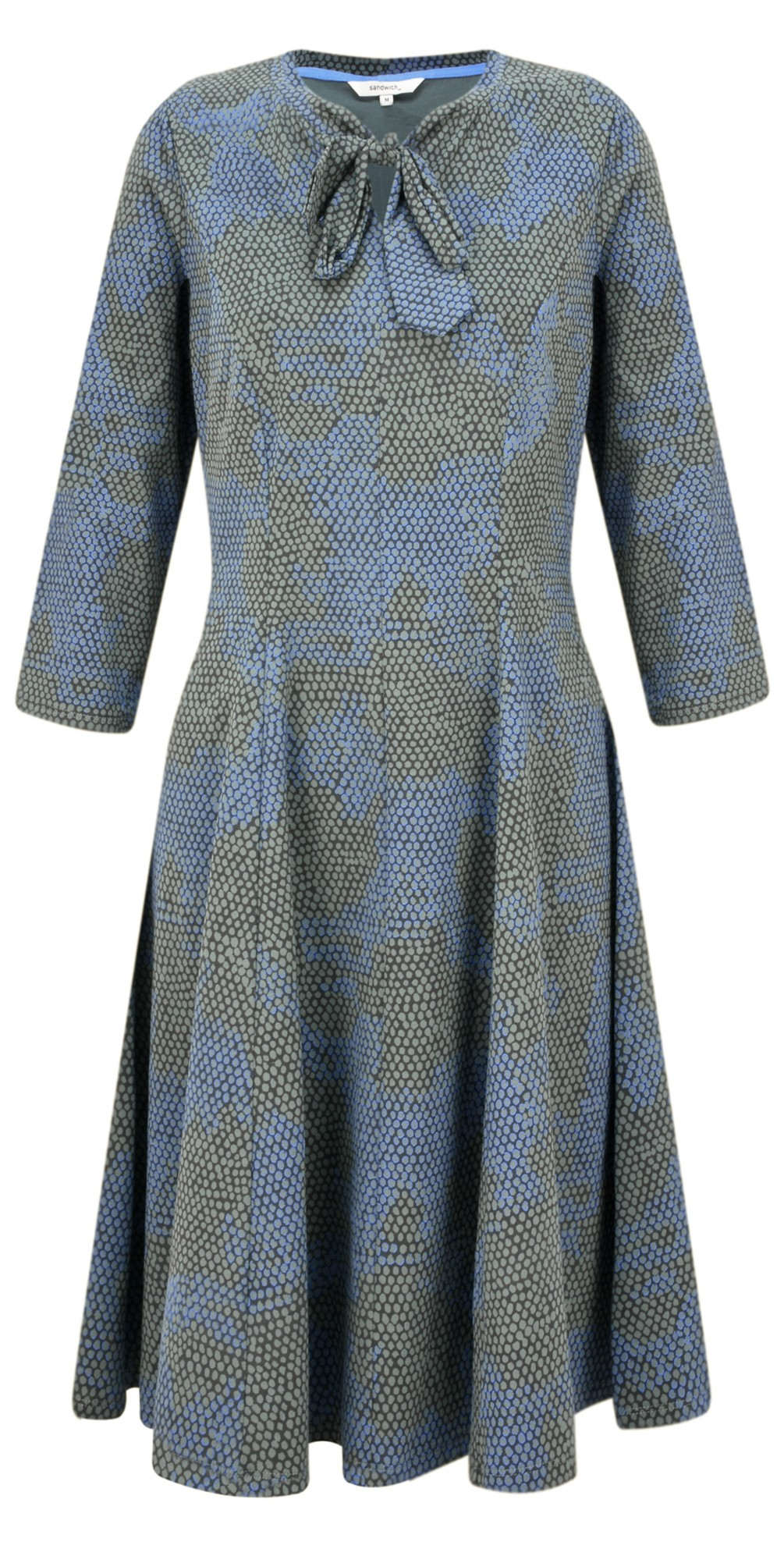 Fit and Flare Tie Neck Snakeskin Dress main image