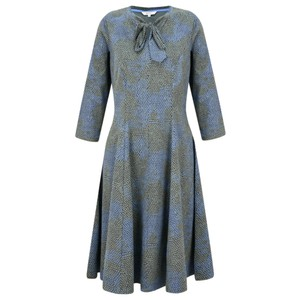 Sandwich Clothing Fit and Flare Tie Neck Snakeskin Dress