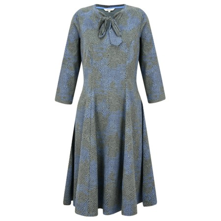Sandwich Clothing Fit and Flare Tie Neck Snakeskin Dress - Green