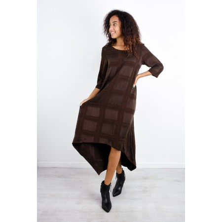 Thing Long Sleeve Check Dress - Brown