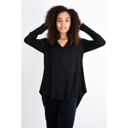 Foil Aiming High Swoop Neck Top - Black