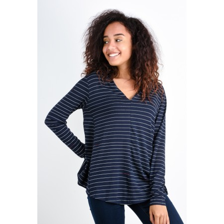 Foil Aiming High Swoop Neck Top - Blue