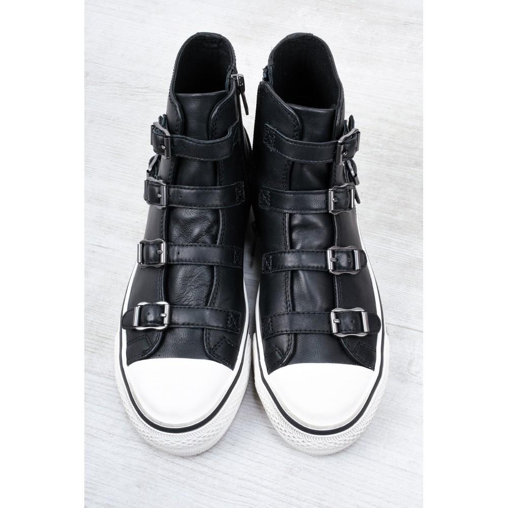 Ash Virgin Black Leather Classic Buckle Trainers Black
