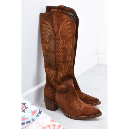 Kanna Cortina Long Western Boot - Brown